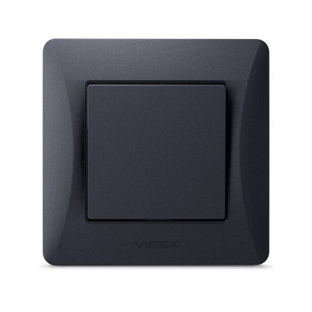 VIDEX BINERA Вимикач 1кл чорний графіт (VF-BNSW1-BG) (24461) - зображення 1
