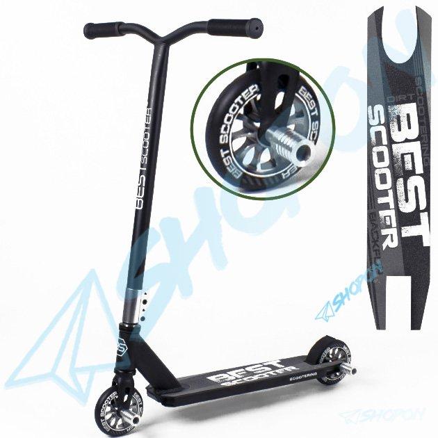 Самокат для трюків Best Scooter Трюковий колесо алюміній 110 мм з 2шт пегами в комплекті, HIC, DIMSA-124, срібний - зображення 1