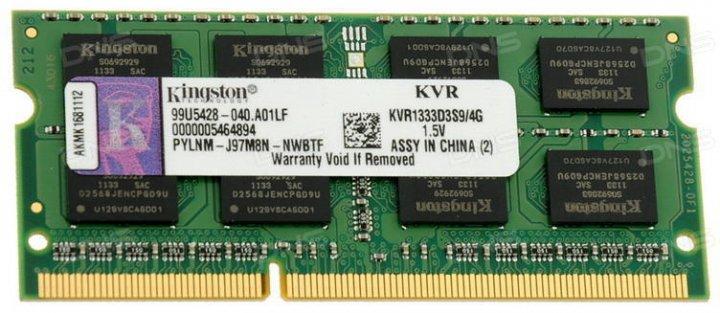 Оперативна пам'ять Kingston SODIMM DDR3-1333 4096MB PC3-10600 (KVR1333D3S9/4G) - зображення 1