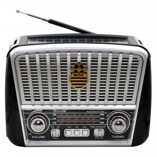 Акустична система Golon радіоприймач колонка радіо на акумуляторі в ретро стилі з сонячною панеллю і ліхтариком з підсвічуванням Чорний (RX-456) - зображення 1