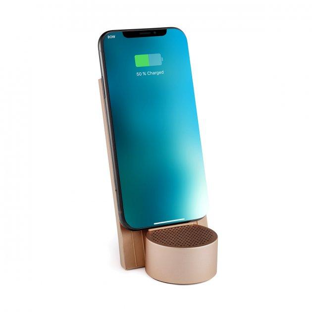 Бездротове зарядний пристрій з динаміком на 3 Вт, золотий - зображення 1
