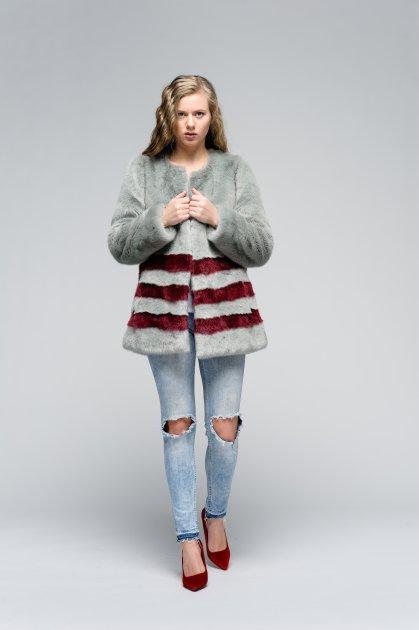Пальто зі штучного хутра molliolli GREY/WINE JACKET, M, m0033gw - зображення 1