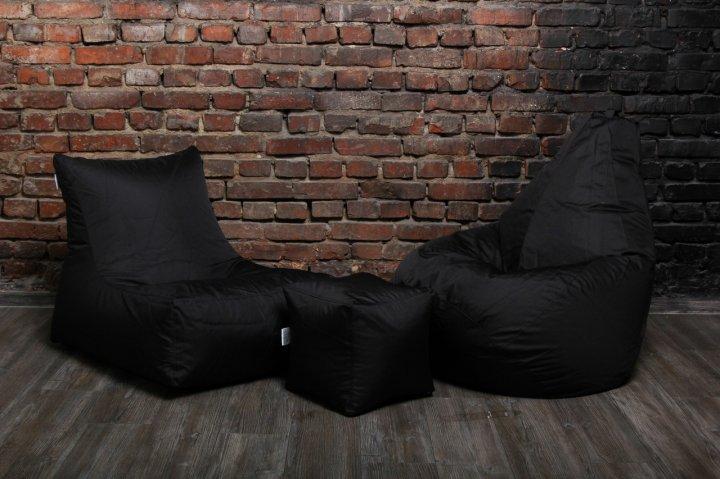 Чорний набір м'яких меблів (крісло груша, диван, пуф XL) - зображення 1