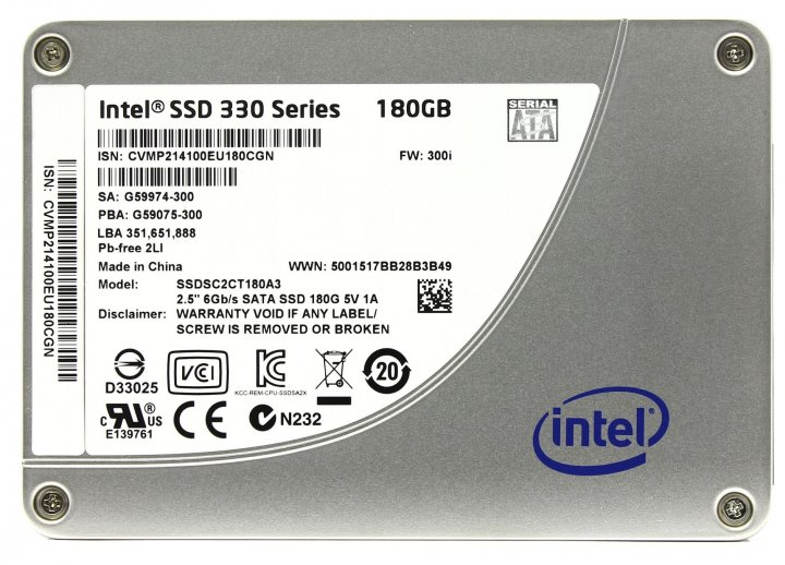 "Накопичувач SSD Intel 330 180GB 2.5"" SATAIII MLC (SSDSC2CT180A3) - Refubrished - зображення 1"