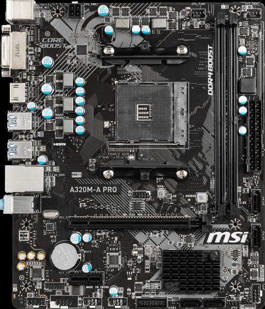 Материнская плата MSI A320M-A Pro (sAM4, AMD A320, PCI-Ex16) - изображение 1
