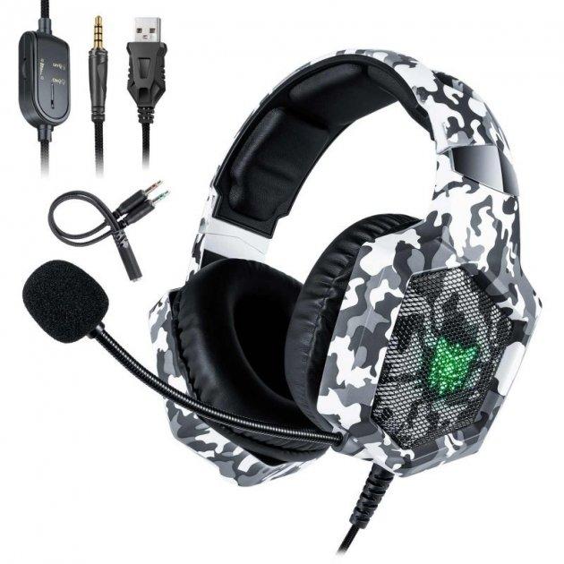 Навушники ігрові Onikuma з гарнітурою Camouflage White - зображення 1