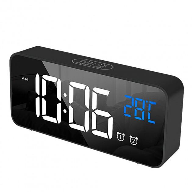 Электронные зеркальные часы-будильник с LED подсветкой и термометром 3DTOYSLAMP черные - изображение 1