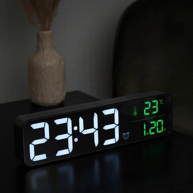 Настольные электронные часы-будильник зеркальные 3DTOYSLAMP Long с LED подсветкой черные - изображение 1
