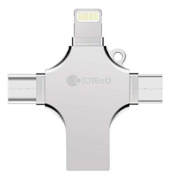 Флеш пам'ять CoTEetCI 4-in-1 Zinc Alloy iUSB 128Gb - зображення 1