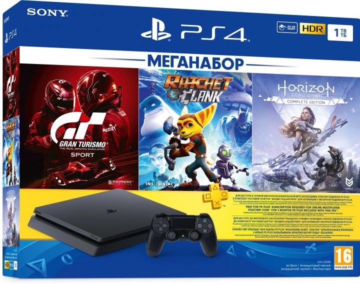 Ігрова приставка PlayStation 4 1 TB Slim Black у комплекті з 3 іграми та передплатою PS Plus (Ratchet & Clank + Horizon Zero Dawn + Gran Turismo Sport + PS Plus 3 місяці) - зображення 1