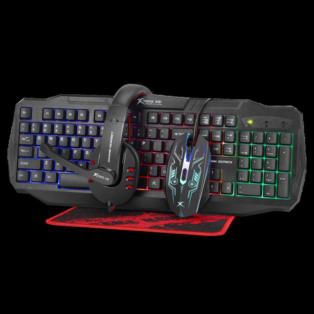 Комплект проводной Gaming Combo 4-in-1 XTRIKE ME CM-406 Клавиатура, мышь, наушники, коврик ENG раскладка Black - изображение 1