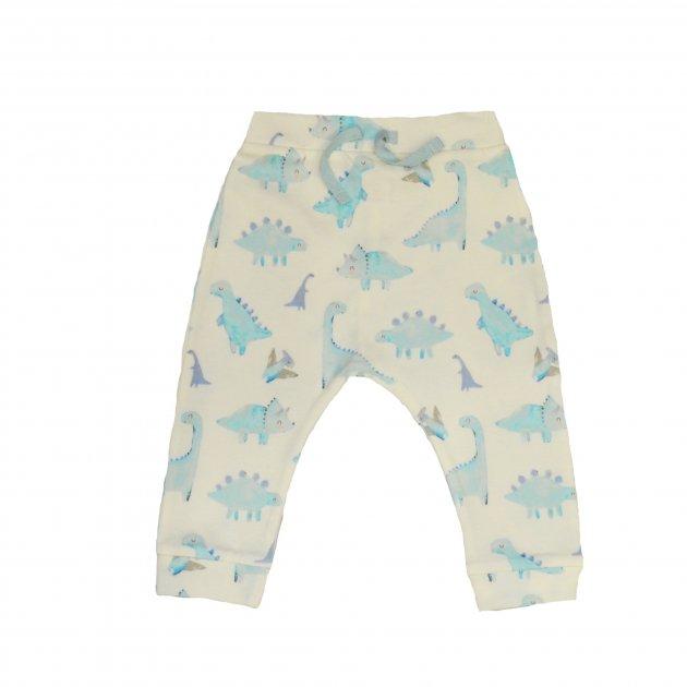 Брюки для мальчика ( 1 шт ) George белые с голубыми динозаврами на резинке и манжетах 9-12М (74-80см) 11кг 366 - изображение 1