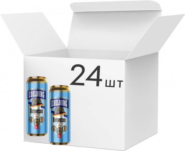 Упаковка пива Edelburg Hefeweizen світле нефільтроване 5.1% 0.5 л х 24 шт. (4260684190015) - зображення 1
