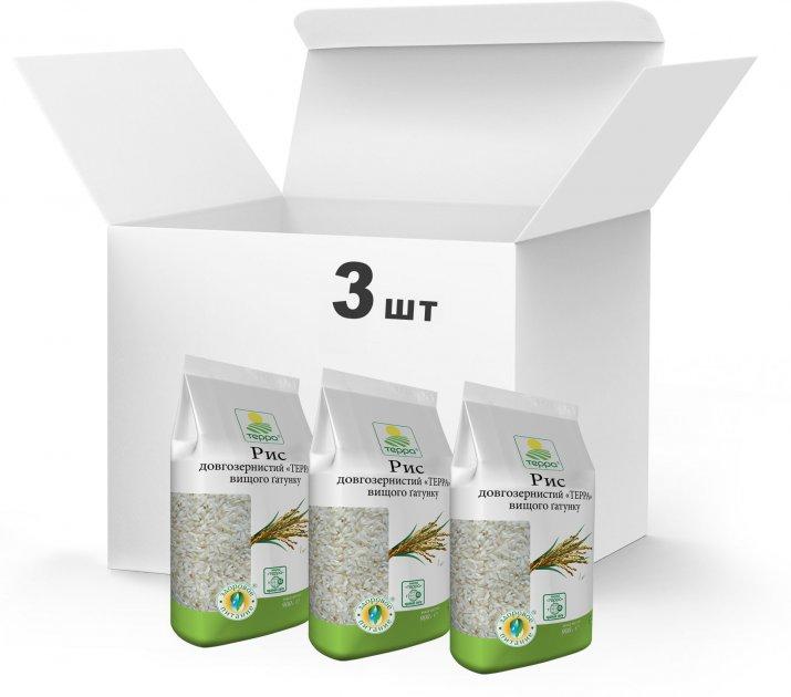Упаковка Рис длиннозернистый Терра Высшего сорта 3 x 0.9 кг (4820015739186) - изображение 1