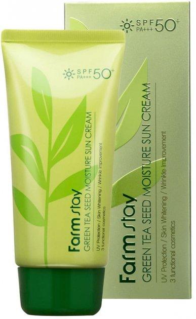 Защитный увлажняющий крем FarmStay Green Tea Seed Moisture Sun Cream SPF50+ PA +++ 70 г (8809426957651) - изображение 1