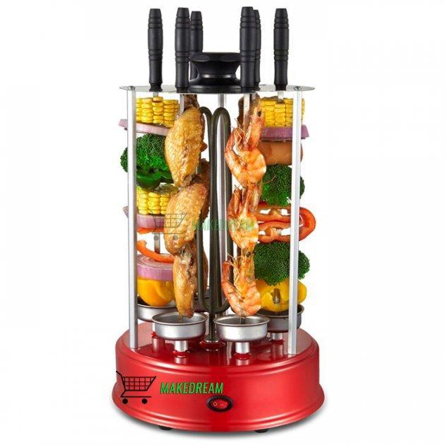 Электрошашлычница гриль LV Home BBQ 1000W на 6 обертових шампурів електрична шашличниця для шашлику будинку з захисним екраном Red (L0348) - зображення 1
