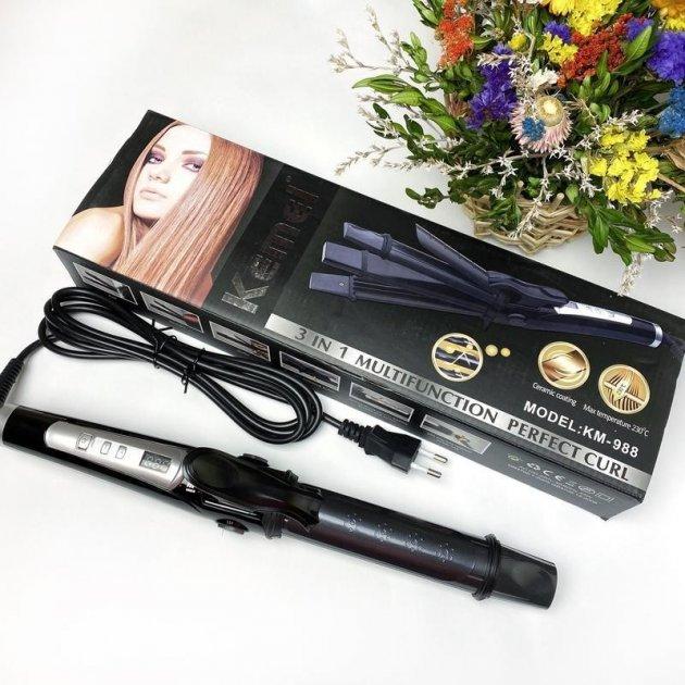 Плойка для завивки волосся Kemei GB-KM 988 3 в 1 (Фен гребінець для укладання волосся, повітряний стайлер) - зображення 1