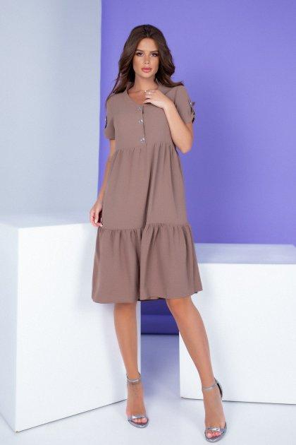 Женское платье Khan свободного кроя кофе с молоком 50 XL - изображение 1