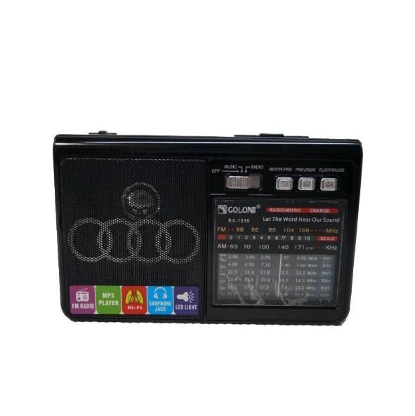 Портативний радіоприймач-колонка на акумуляторах або батарейках PRO Golon RX-1313 MP3 USB SD Чорний AV - зображення 1