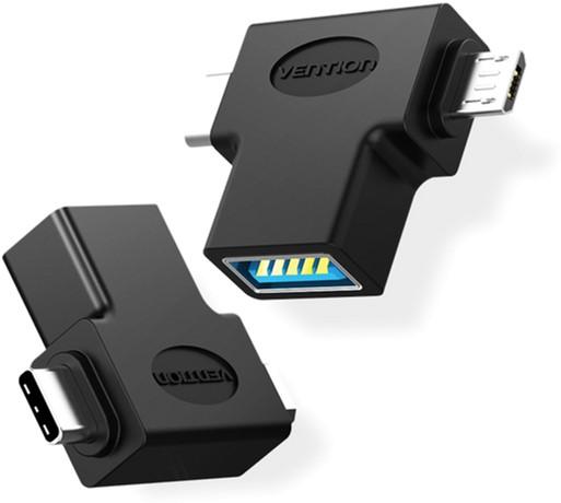 Перехідник Vention USB 3.0 Type-C / USB 3.0 OTG AF / microUSB BM (CDIB0) (64619982) - зображення 1