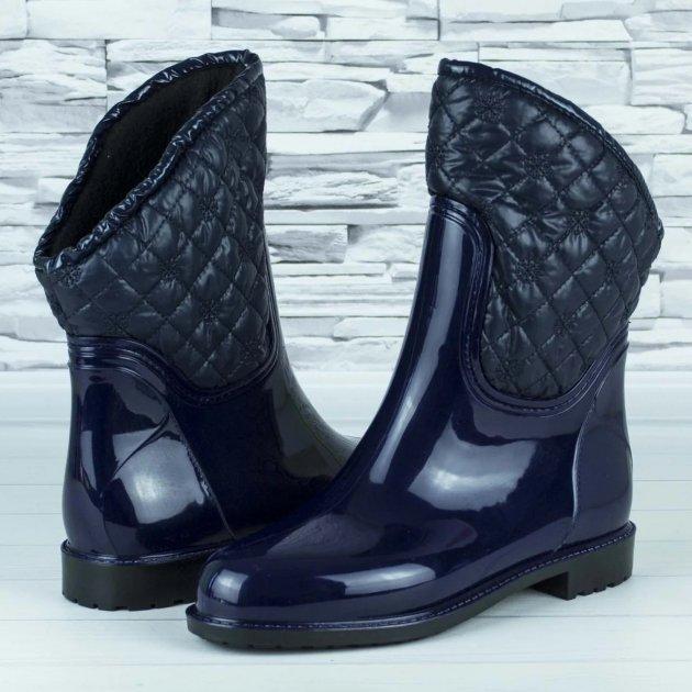Сапоги резиновые женские силиконовые W-shoes 115b синие на флисе 37 р. (23 см) b-477 - изображение 1
