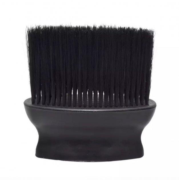 Сметка-щетка для парикмахера, барбера с пластиковой ручкой и черным ворсом Barber Shop Black - изображение 1