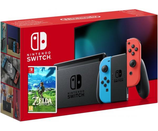 Nintendo Switch Neon Blue-Red (Upgraded version) + Игра The Legend of Zelda: Breath of the Wild (русская версия) - изображение 1