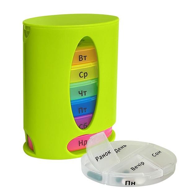 Органайзер для таблеток, витаминов, БАДов на 7 дней, пластиковый зеленый MVM PC-04 GREEN - изображение 1