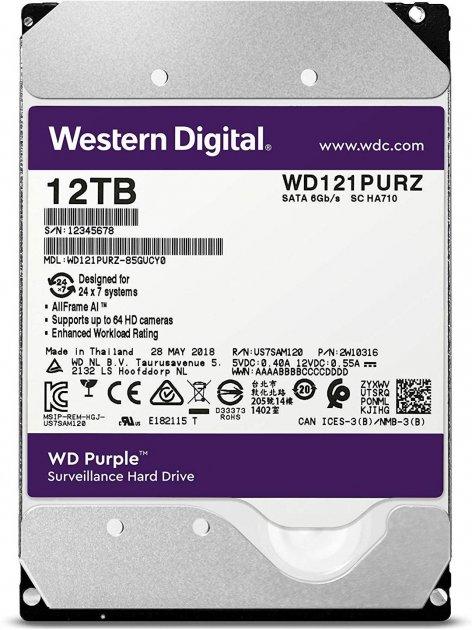 Жорсткий диск Western Digital Purple 12TB (WD121PURZ) 5400rpm, 256MB (6460395) - зображення 1