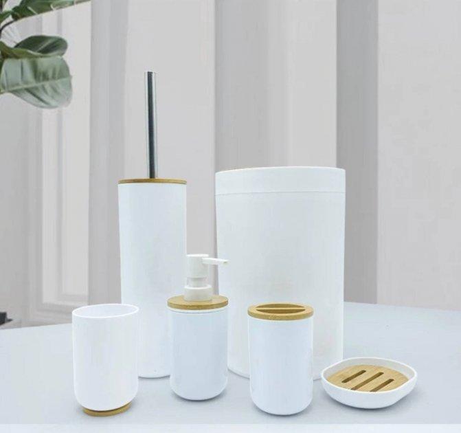 Набір аксесуарів для ванної Bathlux з дерев'яною обробкою , 6 предметів Білий - зображення 1