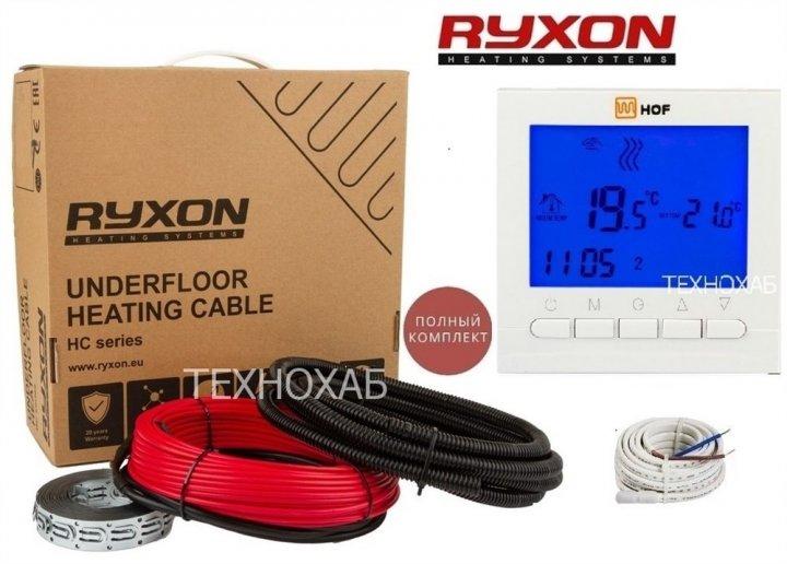 Теплый пол Ryxon 4.5м²-5,6м²/900Вт (45м) двухжильный нагревательный кабель HC-20Вт/м с программируемым терморегулятором HOF pro - изображение 1