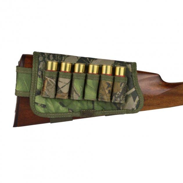 Патронташ на Приклад з Поліестеру Bronzedog Правша 6 патронів калібр 12/16 Зелений (8100) - зображення 1