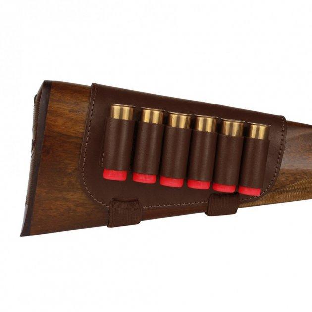 Шкіряний Патронташ на Приклад Bronzedog 6 патронів калібр 12/16 Коричневий (5080/2) - зображення 1