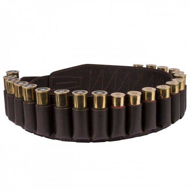 Кожаный Патронташ Bronzedog на 24 патрона 12/16 калибра Открытый Темно Коричневый (10305/2) - изображение 1