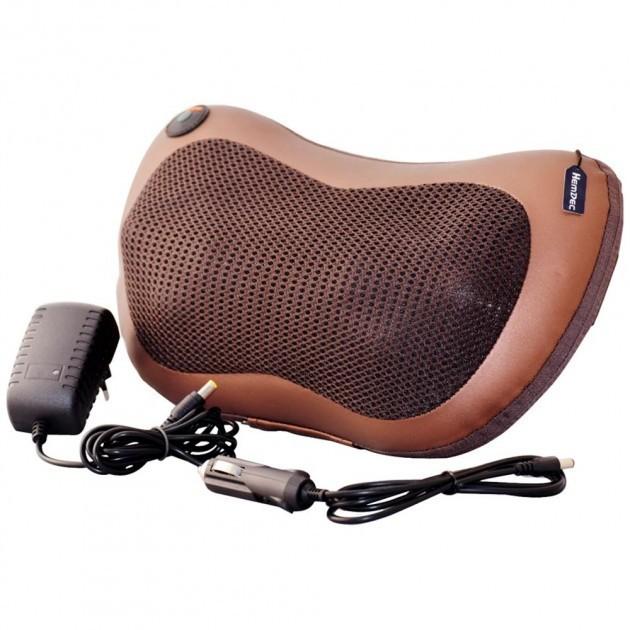 Массажная Подушка Инфракрасный роликовий массажер Massage Pillow для шеи и спины коричневая - изображение 1