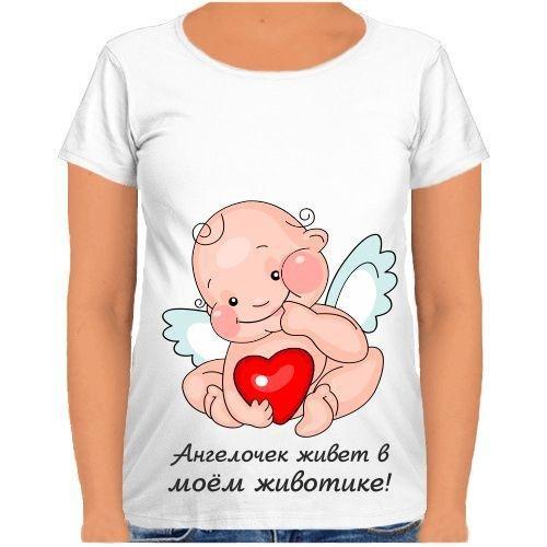 Футболка Fat Cat для беременных Ангелочек живёт в моём животике! S 31437 - изображение 1