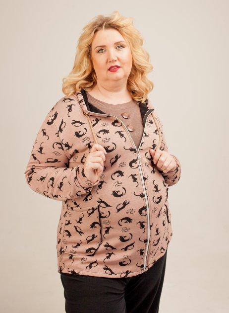 "Женская кофта-кардиган Lady Look ""Котики"" 118 бежевая 58 - изображение 1"