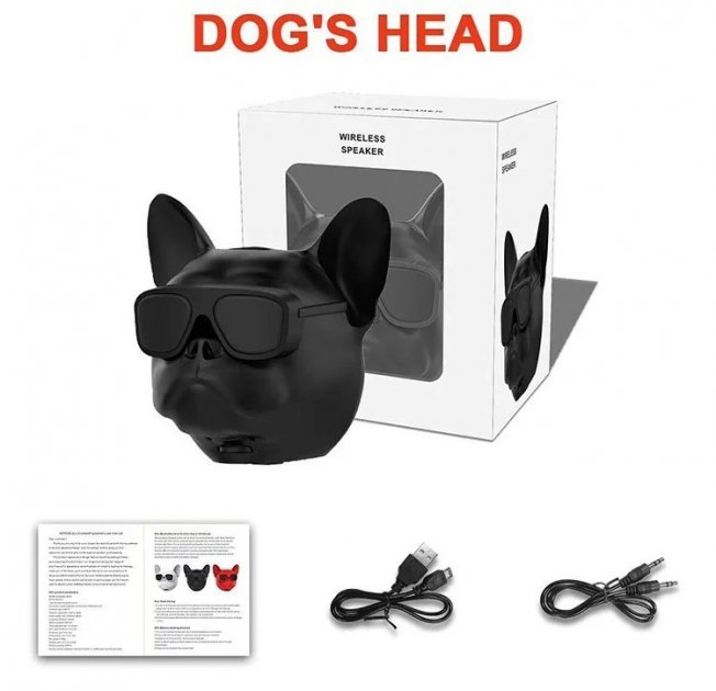 Портативная безпроводная дизайнерская Bluetooth колонка + радио Aerobull DOG Head Mini голова бульдога Черный - изображение 1