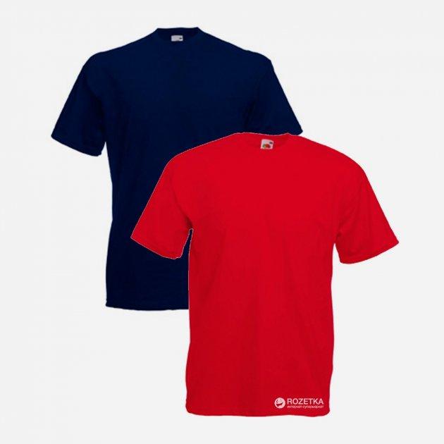 Футболка Fruit of the loom 06136AZ40 Valueweight S 2 шт Темно-синяя/Красный (5000000088486) - изображение 1