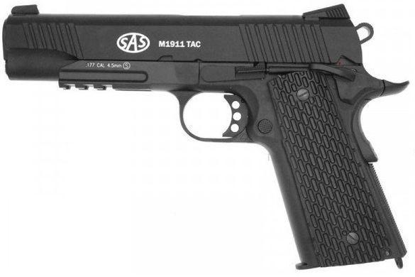 Пістолет пневматичний SAS (M1911 Tactical) Blowback. Корпус - метал - зображення 1