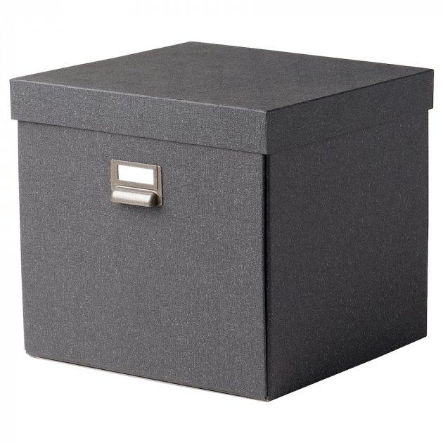 Коробка з кришкою IKEA TJOG 32x31x30 см темно-сірий 204.776.71 - зображення 1