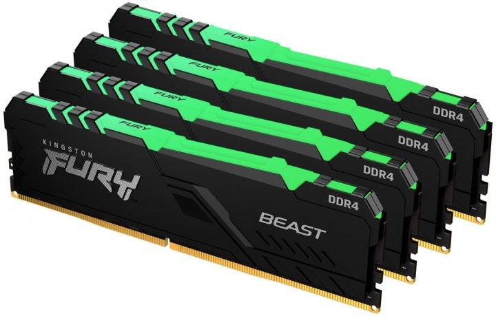 Оперативная память Kingston Fury DDR4-3000 131072MB PC4-24000 (Kit of 4x32768) Beast RGB Black (KF430C16BBAK4/128) - изображение 1
