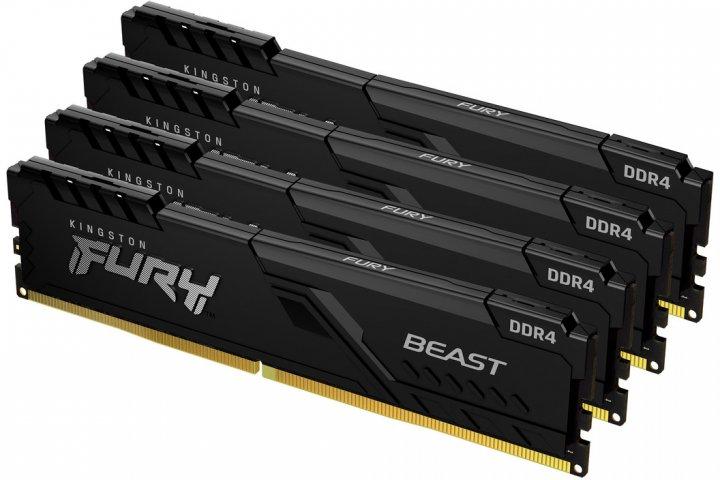 Оперативная память Kingston Fury DDR4-3000 131072MB PC4-24000 (Kit of 4x32768) Beast Black (KF430C16BBK4/128) - изображение 1