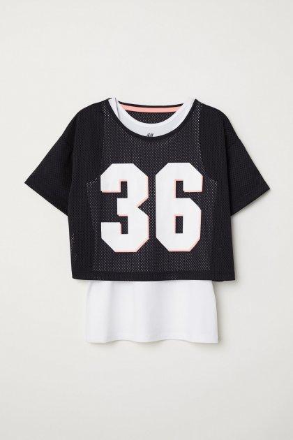 Спортивный топ H&M двухслойный 122-128 черно-белый 3-0017 - изображение 1