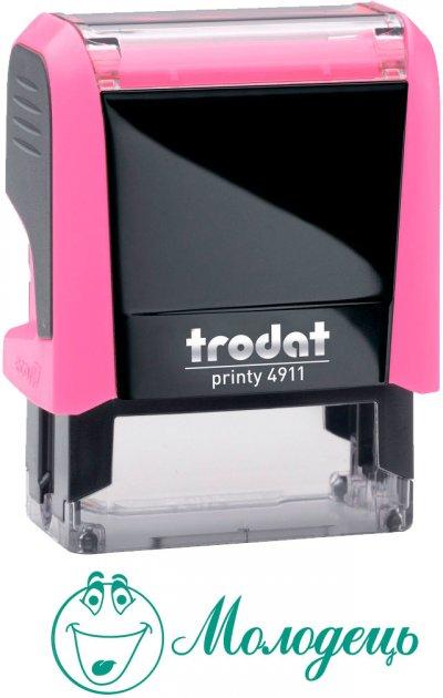 "Штамп стандартный Trodat Printy 4911 ""Молодець + смайл"" зеленый оттиск 38х14 мм Розовый корпус (9720000055169) (4911 P4 Молод)"
