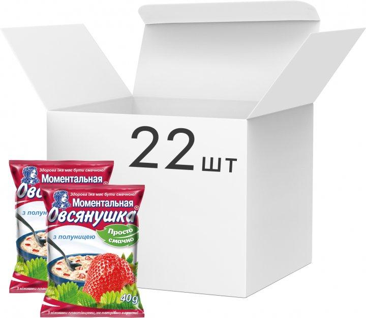 Упаковка каш вівсяних Вівсянушка з полуницею 40 г х 22 шт. (4820039841025) - зображення 1