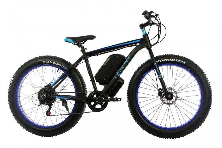 """Електровелосипед E-motion FATBIKE GT 48V 15Ah 1000W 26"""" рама 19"""" чорно-синій (EGT48151000-BB) - зображення 1"""