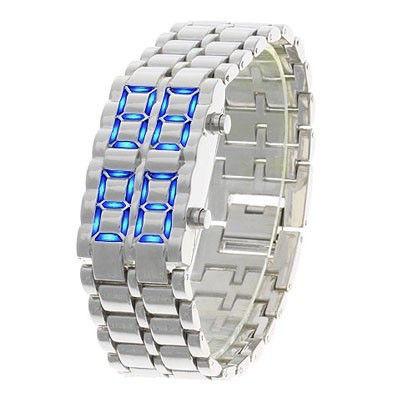 Часы-браслет Led Watch Iron Samurai Айрон Самурай серебристый с синими светодиодами ( IBW012SZ ) - изображение 1