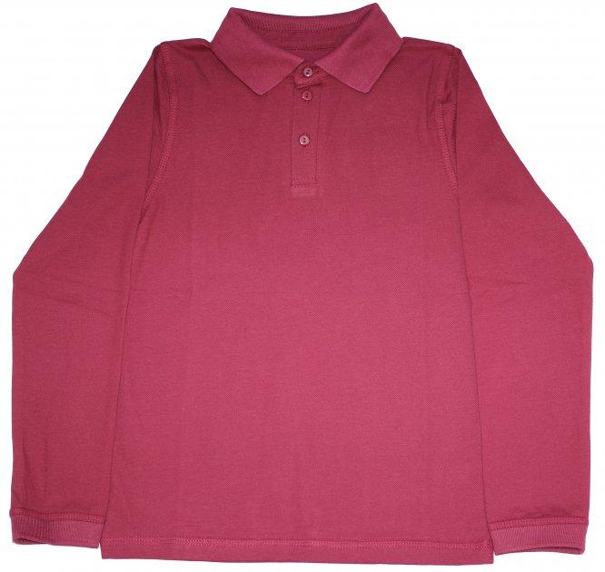 Бордовая рубашка поло для мальчика рост 134 см Фламинго - изображение 1