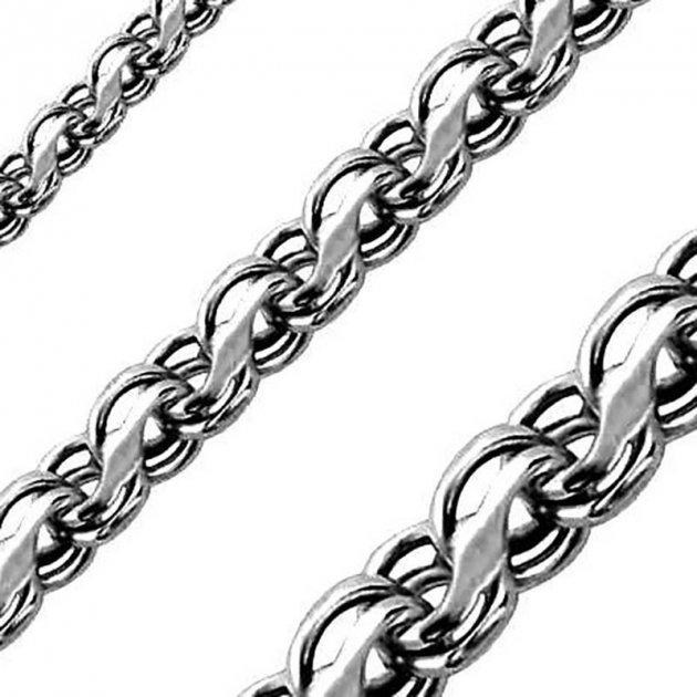 Серебряный мужской браслет ручеёк (Кайзерка) 17см / 4мм чернёный - изображение 1